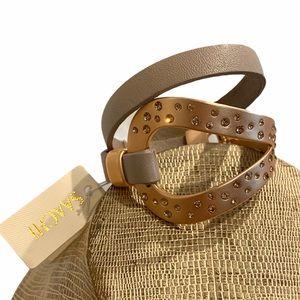 SAACHI Birch Loop Leather Wrap Bracelet NWT